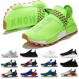 Pas cher NMD Race humaine Chaussures de course Hommes Femmes Pharrell Williams HU Runner Jaune Noir Blanc Rouge Vert Gris Bleu Sport Sneaker Taille