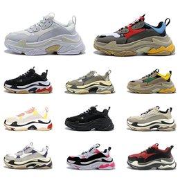 filles coréennes lacer des chaussures décontractées Promotion Balenciaga Triple S Chaussures de basket Toro Rouge Daim Jaune Orange Bleu Royal Gris Cool OG Hommes Sport Trainer Athlétique Baskets 8-13 Livraison Gratuite