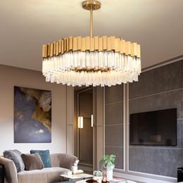 2019 iluminação ocidental vintage Modern luxo K9 lustre de cristal de ouro iluminação lustres de aço inoxidável luz viva lâmpadas pingente sala de jantar quarto quarto