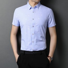Camisa rosa business casual on-line-Shanbao brand 2020 summer new high-quality striped short-sleeped shirt British Style casual men's slim shirt blue pink