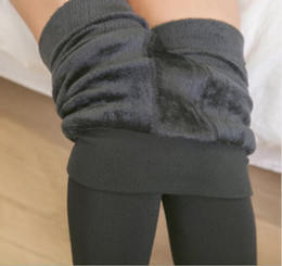 Нижнее белье тонкая талия онлайн-Women Winter Warm Thicken Velvet Leggings Pants Dresses Leggings High Waist Slim Stretch Pants Solid Color Ladies Leggings Womens Underwear