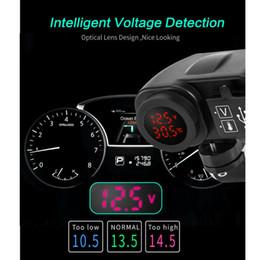 2019 12v usb для мотоциклов Универсальный локомотивный красный светодиодный вольтметр + термометр 12В для мотоциклов USB зарядное устройство 2.1А + 2.1А с цифрой скидка 12v usb для мотоциклов