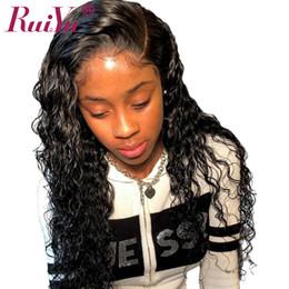 Le donne nere merlettano le parrucche online-Parrucca per capelli umani anteriore in pizzo Ruiyu Deep Wave 360 per le donne nere Parrucca anteriore in pizzo riccio con capelli per capelli Capelli vergini brasiliani