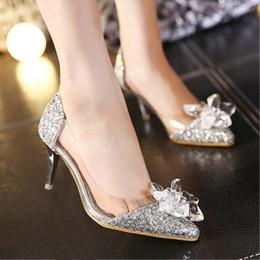 zapatos de boda de la boda de las sandalias del rhinestone Rebajas diseño de lujo de oro con lentejuelas de diamantes de imitación de diamantes de imitación zapatos de mujer de verano de tacón de aguja sandalias de plata atractiva zapatos de la novia de la boda barato