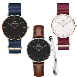 green leather watch strap Promo Codes - 2019 new fashion men and women Daniel Wellington watch 36MM 40MM nylon leather strap business casual brand quartz DW watch