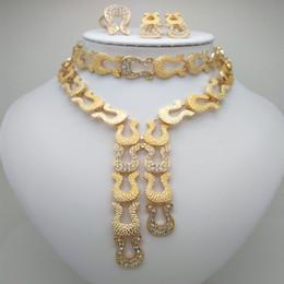 pérola india Desconto Atacado Moda Beads Africanos Jóias Set Nigéria Dubai Jóias De Ouro India Cubic Zirconia Conjuntos De Noiva
