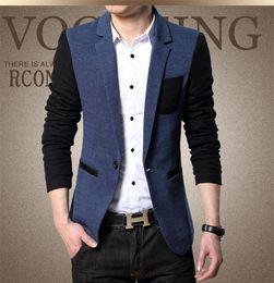 Männer kontrastfarben anzug online-Mode getäfelten Mann Freizeit Anzug Blazer Designer Single Button Casual Tuch Kontrastfarbe Plus Hommes Jacke
