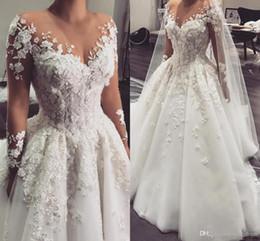 vestidos de novia únicos de invierno Rebajas 2019 Blanco Árabe Tallas grandes Mangas largas vestidos de novia de encaje robe de mariée Vestidos de novia vestido de novia