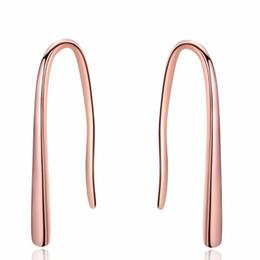 Маленькие крючки онлайн-100% Стерлингового Серебра 925 Серьги с Розовым Золотом Маленькие Простые Серьги Для Женщин / Рабочее место девочки