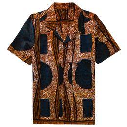 Племенные шорты печати онлайн-Online Wholesale African Male Clothes Fall Ethnic Tribal Flora Print Batik Cotton Short Sleeves Men Shirts Camisa Masculina
