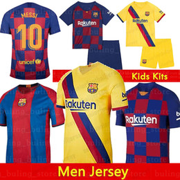 Jersey 17 kit online-maglie di calcio Barcellona 10 Messi 21 F.DE JONG 17 Griezmann 2019 2020 Uomini Kid kit maglie da calcio COUTINHO SUAREZ MALCOM PIQUE VIDAL