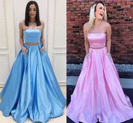 Caliente venta azul rosa 2 piezas de baile vestidos de dama de honor con bolsillos de cristal una línea sin tirantes de satén regreso a casa de noche vestido formal barato largo desde fabricantes