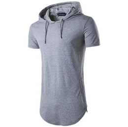 9d479c543 2019 Summer fashion mens short sleeve hooded side zipper casual t shirt for man  designer t shirt hoodies mens long tee shirt tops D20