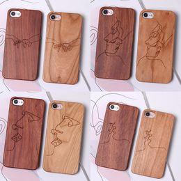 2019 holzzellen fällen Holz phone cases laser carving für iphone xs max xr sexy linien harte handy case für iphone 6 7 8 x plus günstig holzzellen fällen
