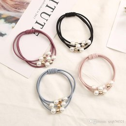 ponytail jewelry Coupons - 4PCS Hair Accessories Pearl Elastic Rubber Bands Ring Headwear Girl Elastic Hair Band Ponytail Holder Scrunchy Rope Hair Jewelry