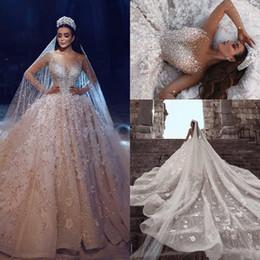 2019 vestidos brancos pretos da recepção de casamento Vestido de baile de luxo vestidos de casamento sheer neck mangas compridas beading flores tule saudi árabe budai vestidos de noiva catedral trem