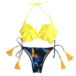 купальники для женщин купальники бикини push up mujer рябить бикини набор сексуальное бикини стринги висит шеи низкой талией бандаж мягкий бюстгальтер supplier ruffle thong bikini от Поставщики бифштексы