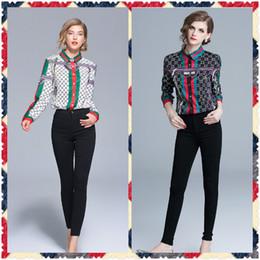 Camisas de escritório sexy on-line-New Style Runway Moda Feminina Primavera Outono Impressão Blusas Camisas Elegante Senhora Do Escritório Sexy Magro Plus Size Clássico Carta Blusas Camisas