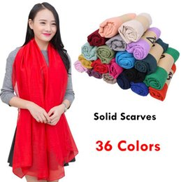 plain sarongs wholesale Promo Codes - Solid Sunscreen Shawl Soft Wrap Long HeadScarf Women Sarong Scarves 180*100cm 36 Colors Beach Plain Cotton Linen Silk Scarf