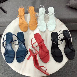 lace up cut out sandals Promo Codes - Designer Women Sandals Bare Toes High Heels Leather Sandals Slender Straps Soft Leather Slides Sexy Wedding Heels Dress Party Shoes
