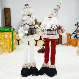 2019 muñecas de santa claus 2 unids / lote Santa Claus + Muñeco de nieve Muñeca Decoraciones navideñas Adornos Juguete extensible de pie Feliz Navidad Suministros Regalo de Año Nuevo muñecas de santa claus baratos