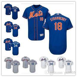 fragole bianche Sconti Personalizzato Men women youth Majestic NY Mets Jersey # 34 Noah Syndergaard 18 Darryl Strawberry Home Blu Grigio Bianco Kids Girls Maglie da baseball