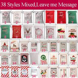 Christmas Santa Sacks 38 Styels Borse in tela di cotone Grandi sacchetti regalo organici con coulisse pesante Decorazioni natalizie per feste personalizzate da