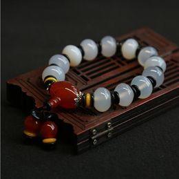 2019 joyería tibetana original Pulsera de ágata blanca natural Pulseras de estilo étnico tibetano Joyas originales ab39 # joyería tibetana original baratos