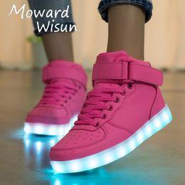 38d8750fcd43d 2019 chaussures led rose enfants Taille 25-40 USB Baskets Lumineuses  Lumineuses avec Semelle Lumineuse