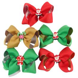 Adornos de linea online-10cm chica / 4 pulgadas bebé horquillas del arco de la Navidad de revestimiento de plata con adornos de Santa Claus Barrettes del pelo LA127
