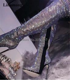 luxuriöse hochzeits-fersen strasssteine Rabatt Frauen Luxuriöse Strass Spitzschuh über Knie-dünne Ferse Stiefel Bling Bling Crystal Slim High Heel Stiefel hoch Hochzeit Schuhe