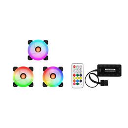 Cajas de pc silenciosas online-COOLMOON 3pcs Caja de la computadora Ventilador de refrigeración de PC RGB Ajuste LED 120mm Quiet + IR Remote para CPU