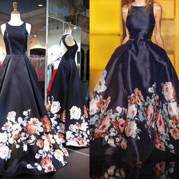 Vestidos de dama de honra impresso barato on-line-Impresso Vestidos de Baile Grandes Flores Vestidos de Noite Beach Party Guest Gown Da Dama de Honra Vestido de Ba ...