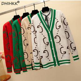 Cardigan de moda coreano online-Moda-DHIHKK 2018 Chaquetas de punto con rayas en contraste Suéteres estilo coreano sueltos con botones Abrigos Elegantes chaquetas de punto vintage