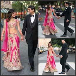 2019 vestidos indianos de duas peças 2019 novo chique duas peças vestidos de casamento indiano appliqued decote v sereia frisada vestidos de noiva até o chão vestido de noiva com envoltório desconto vestidos indianos de duas peças