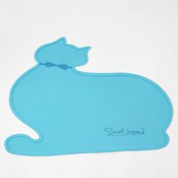 Argentina Azul lindo forma de cabeza de gato almohadilla de comida de gato cuenco de silicona estera gato perro mascota placemat cuatro colores elección FSC0061 cheap placemat blue Suministro