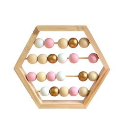 Abacus giocattoli online-Craft bambino Early Learning Giocattoli educativi scandinava Stile Baby Room Decor New Nordic Natural Style Abaco in legno con perline