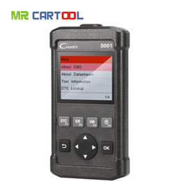Sensor de código on-line-Armazém russo CReader CR5001 Code Reader Ferramenta de Diagnóstico Completo Funções OBD2 Scanner O2 Sensor de Teste On-board Monitor