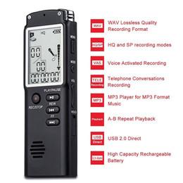 2019 mejor grabadora de voz mp3 T60 Profesional Pantalla de tiempo de 8 GB Grabación recargable Voz digital Grabadora de audio Dictáfono WAV Reproductor de MP3 sin pérdidas con pantalla LCD