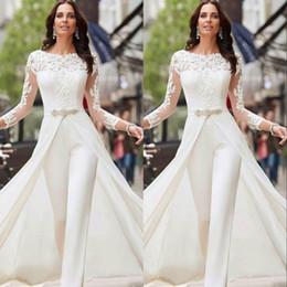 tamanho 16 calça Desconto Branca Jumpsuits Calças longos vestidos de casamento da luva Lace cetim com overskirts Beads Cristais Plus Size vestidos de noiva Vestidos de Novia