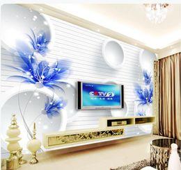 Murales blu fiore online-Foto di qualsiasi dimensione personalizzata Blue fantasy flower 3D TV sfondo muro murale carta da parati