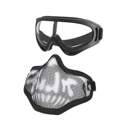 steel tactical mask Coupons - MGFLASHFORCE Mask Goggles Set Half Face Steel Mesh Mask Paintball Hunting Tactical Protective CS Halloween Party Cosplay