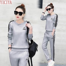 aa6d25b819a YICIYA womens tracksuits two piece sets casual outfits co-ord set plus size  large winter autumn pants suits and top gray clothes