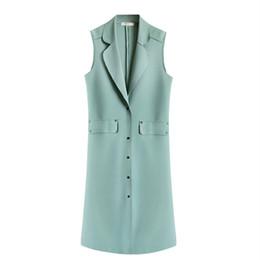 2019 женщина с двубортным жилетом Vest for Woman Medium Length Double Suit Solid Single Breasted Turn Down Collar Pockets Trench Thin Spring Abrigos Mujer 2019 скидка женщина с двубортным жилетом