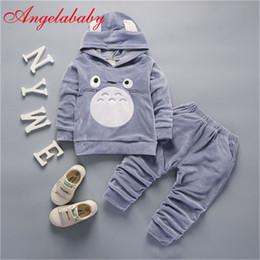 Moda Crianças Meninos Meninas dos desenhos animados Vestuário Ternos do bebê Velvet Hoodies Calças 2Pcs / Define as crianças roupas de inverno da criança Fatos T191006 de