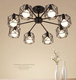 Lampade a tubo d'epoca online-Lampadari vintage asta multipla Lampada da soffitto in ferro battuto E27 Lampade da soggiorno Lampade per illuminazione domestica