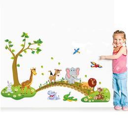 3D bande dessinée Jungle animaux sauvages pont arbre lion Girafe éléphant oiseaux fleurs stickers muraux pour chambre d'enfants salon décor à la maison ? partir de fabricateur