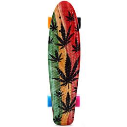 2019 mini bordo lungo All'ingrosso-22 pollici Graffiti Maple Printing Maple Leaf Retro Skateboard Longboard Skate Board Mini Cruiser Long Board Skatecycle Per bambini mini bordo lungo economici
