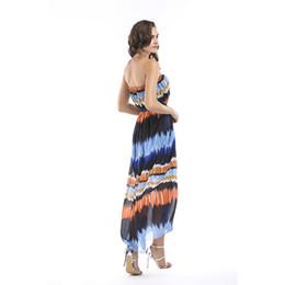 Vestido de uma peça de praia wrap on-line-Primavera e verão novo chiffon elegante envolto peito vestido gradiente de cor praia de uma peça Europa e vestido de grandes dimensões das mulheres