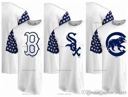 Camisas vermelhas de listra branca on-line-2019 de Homens T-shirt de manga curta Sox branco de Chicago Cubs Chicago Sox Boston Red Fanáticos Branded Estrelas Stripes T-shirt branco